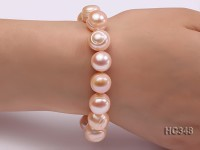 12-13mm pink round freshwater pearl bracelet