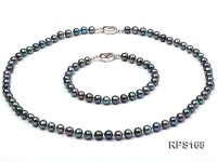 6.5mm black round freshwater pearl necklaceand bracelet set