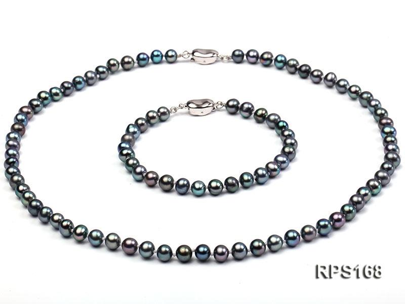 6.5mm black round freshwater pearl necklaceand bracelet set