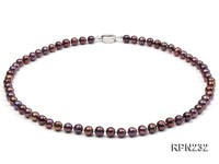 AAA-grade 6mm Deep Purple Round Freshwater Pearl Necklace
