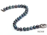 6mm black round freshwater pearl bracelet