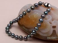 6.5mm black round freshwater pearl bracelet