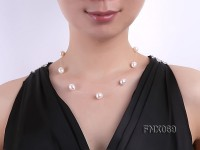 10x12mm White Oval Freshwater Pearl Station Necklace