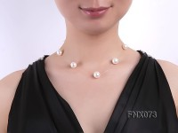 12mm AAA White Round Freshwater Pearl Station Necklace