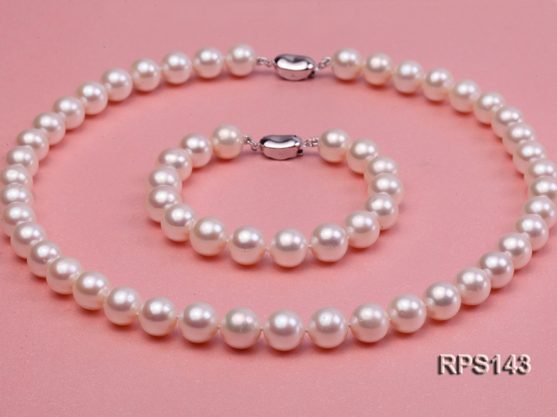 10-11mm AAA round freshwater pearl necklace and bracelet set