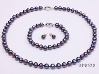 7-8mm round freshwater pearl necklace,bracelet and earring set