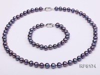 7-8mm black round freshwater pearl necklace and bracelet set