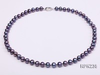AA-grade 7-8mm Dark Purple Round Freshwater Pearl Necklace
