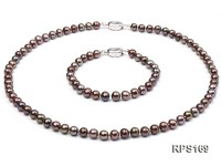 6-6.5mm black round freshwater pearl necklaceand bracelet set
