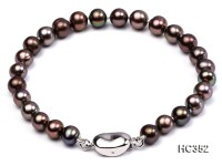 6-6.5mm black round freshwater pearl bracelet