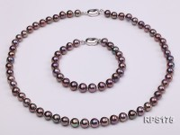 7.5mm black round freshwater pearl necklace and bracelet set