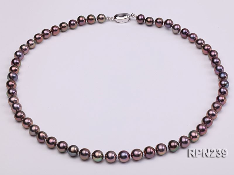 AAA-grade 7.5mm Deep Brown Round Freshwater Pearl Necklace