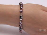 7.5mm AAA purplish black round freshwater pearl bracelet