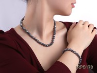 8-9mm AAA black round freshwater pearl necklace and bracelet set