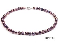 AAA-grade 8-9mm Dark Purple Round Freshwater Pearl Necklace