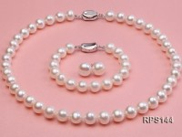 10-11mm AAA white round freshwater pearl necklace,bracelet and earring set