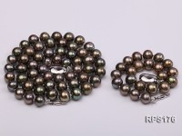 7.5mm AAA round freshwater pearl necklace and bracelet set