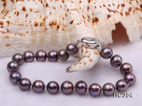 8-9mm AAA  purplish black round freshwater pearl bracelet