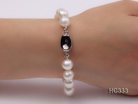 10-11mm AAA white round freshwater pearl bracelet