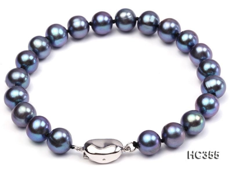 8-8.5mm AAA  black round freshwater pearl bracelet