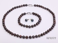 7-8mm AAA black round freshwater pearl necklace,bracelet and earring set