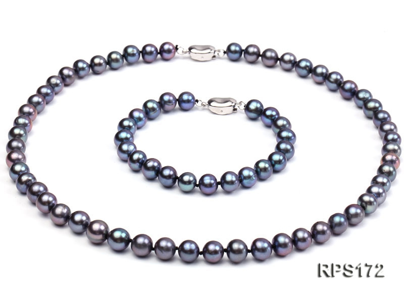 8-8.5mm AAA  black round freshwater pearl necklace and bracelet set