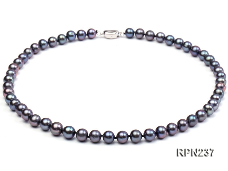 8-8.5mm AAA Black Round Freshwater Pearl Necklace
