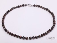 7-8mm Black Round Single-strand Freshwater Pearl Necklace