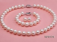 10-11mm white round freshwater pearl necklace,bracelet and earring set