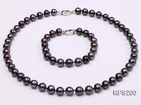 9-10mm AAA round freshwater pearl necklace and bracelet set