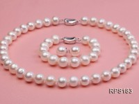 11.5-12.5mm AAA round freshwater pearl necklace,bracelet and earring set