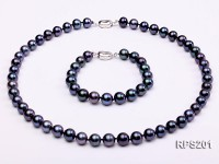 9-10mm AAA black round freshwater pearl necklace and bracelet set