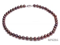 Classic 9-10mm AAA Brown Round Cultured Freshwater Pearl Necklace