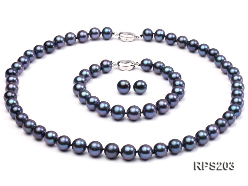 9-10mm AAA  round freshwater pearl necklace,bracelet and earring set