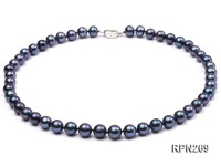 9-10mm AAA Black Round Freshwater Pearl Necklace