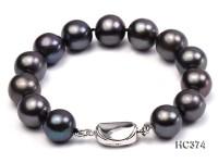 12mm AAA black round freshwater pearl bracelet