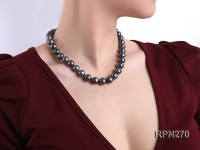 Classic 12mm AAA Black Round Cultured Freshwater Pearl Necklace