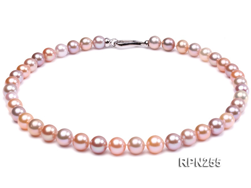 Classic 9-10mm AAAAA White, Pink and Lavender Round Cultured Freshwater Pearl Necklace