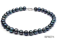 Super-size 12-13mm AA Black Round Freshwater Pearl Necklace