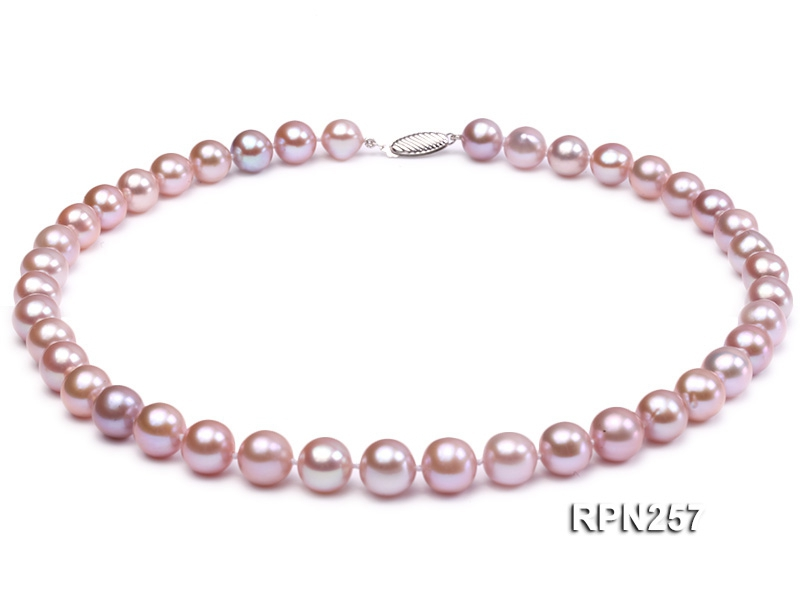 Classic 9.5-10.5mm AAA Lavender Round Cultured Freshwater Pearl Necklace