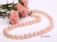 AA-grade 9-10mm Natural PInk Round Freshwater Pearl Necklace