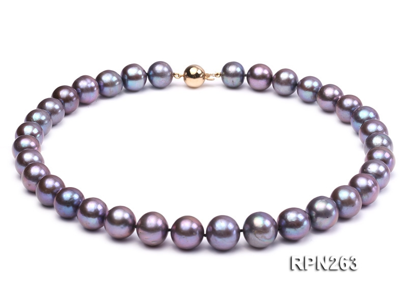 Classic 11-12mm AAA Black Round Freshwater Pearl Necklace