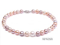 Classic 12-14mm AAA White, pink & Lavender Round Freshwater Pearl Necklace