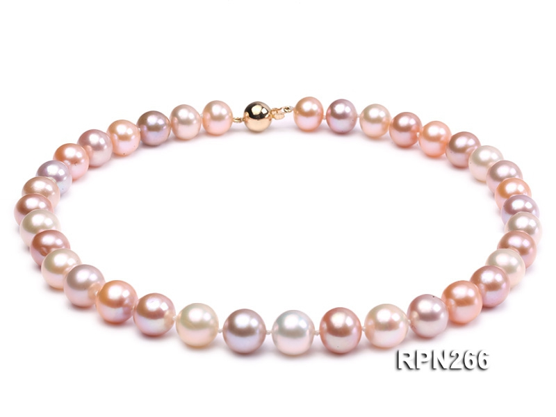 Classic 11.5-12.5mm AAAAA White, Pink and Lavender Round Cultured Freshwater Pearl Necklace