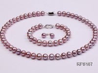 8-9mm AAA round freshwater pearl necklace,bracelet and earring set