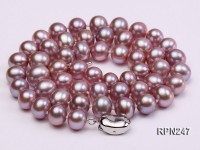 8-9mm AAA Natural Lavender Round Freshwater Pearl Necklace