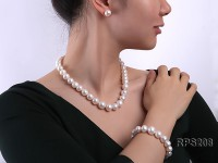 12-14.5mm AAA round freshwater pearl necklace,bracelet and earring set