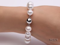 12-14.5mm AAA white round freshwater pearl bracelet