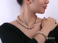13-14mm Multicolor round freshwater pearl necklace,bracelet and earring set