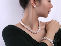 12.5-14.5mm AAA round freshwater pearl necklace,bracelet and earring set